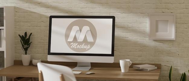 3d-рендеринг рабочего пространства с макетом ноутбука
