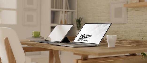 3d-рендеринг рабочего места с макетом ноутбука