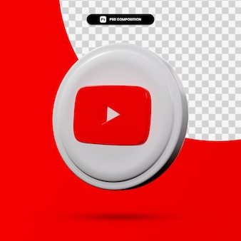 分離されたyoutubeアプリケーションのロゴの3dレンダリング