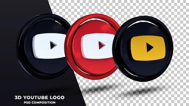 分離されたyoutubeロゴの3dレンダリング