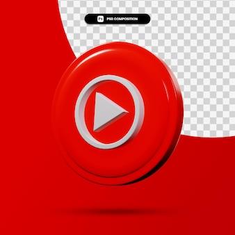 分離されたyoutube音楽アプリケーションのロゴの3dレンダリング