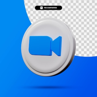 分離されたズームアプリケーションロゴの3dレンダリング