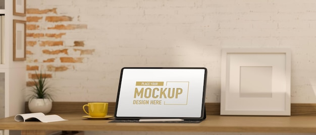 3d rendering of office desk with computer mockup