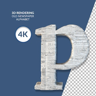 3d rendering of old newspaper alphabet isolated