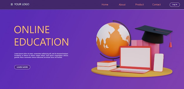 3dレンダリング、オンライン教育のコンセプト、自宅で勉強する新技術