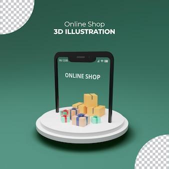 3d рендеринг интернет-магазин подарочные коробки для смартфона на подиуме