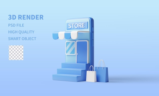 3d rendering online shopping blue background mobile phone shopping