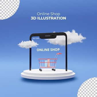 3d-рендеринг интернет-магазинная тележка со смартфоном на деревянном подиуме