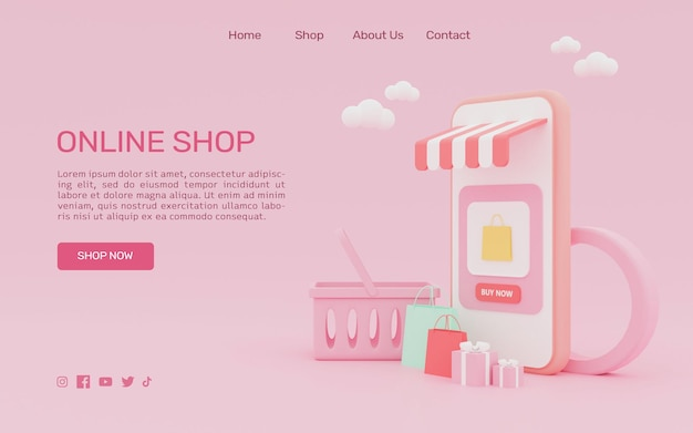 3d 렌더링 스마트 폰 방문 페이지에서 온라인 쇼핑