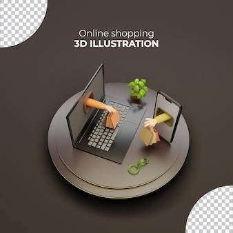 3d rendering online shopping shopping bag hand holding isolated from smartphone and laptop
