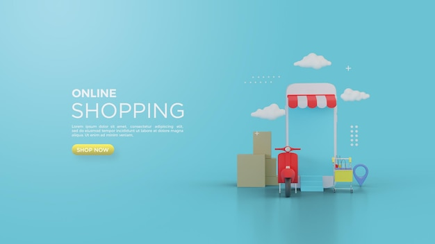 3d rendering of online shopping for social media with vespa merah and smartphone stores