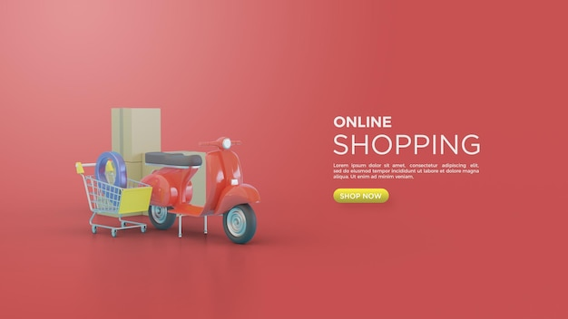 3d rendering of online shopping for social media with vespa and shopping cart