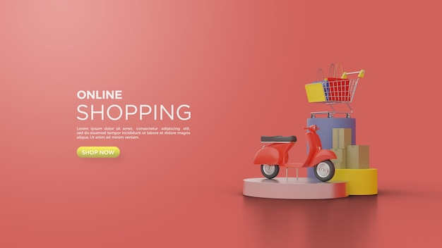 3d rendering of online shopping with delivery illustrations with vespa