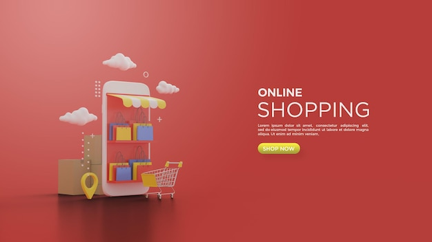 3d rendering of online shopping with an illustration of a shopping cart in front of a smartphone