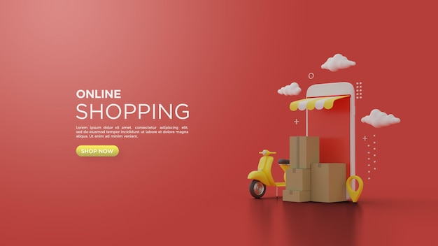 3d rendering of online shopping with illustrations of smartphones pespa and cardboard