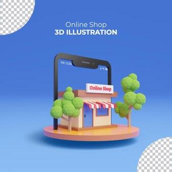 Интернет-магазин 3d рендеринга со смартфоном на деревянном подиуме