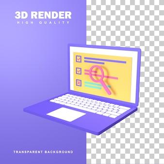 3d-рендеринг онлайн-опроса с множеством вариантов.