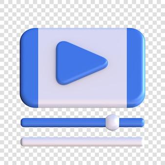 Значок 3d-рендеринга онлайн-видео, символ кнопки воспроизведения посередине