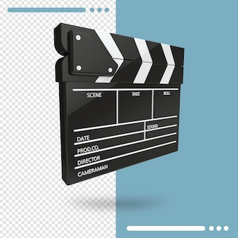 3d rendering of open movie clapperboard or clapper isolated