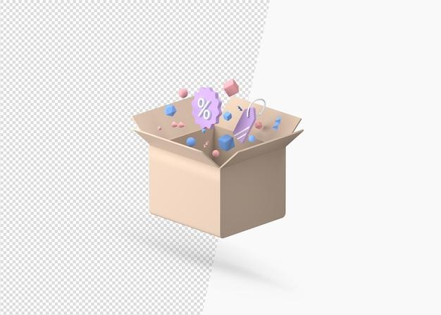 3d 렌더링 할인 기호로 선물 상자를 열어