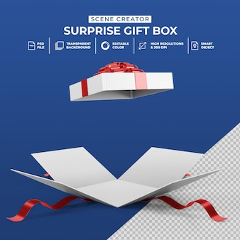 3d rendering of opened surprise gift box