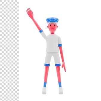 3d 렌더링 또는 그림 선수 파란 머리