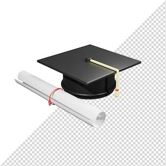 3d 렌더링 종이와 졸업 모자 모자