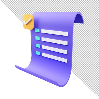 3d rendering paper bill transaction receipt payment icon
