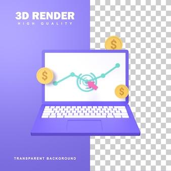 노트북 화면을 클릭하는 커서가 있는 클릭당 3d 렌더링 지불 개념.