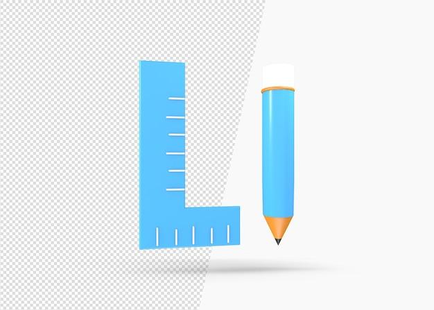 3dレンダリング鉛筆と定規のアイコン