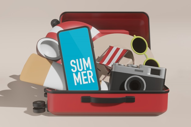 シーンクリエーターの3 dレンダリング電話表示夏のモックアップ