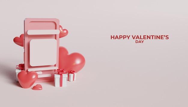 3d-рендеринг телефона на день святого валентина с подарочной коробкой и сердцем