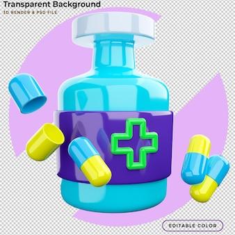 3d 렌더링 약은 의료 병에서 날아갑니다.