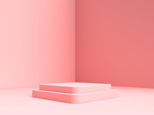 3d 렌더링 핑크 파스텔 제품 배경에 서있다.