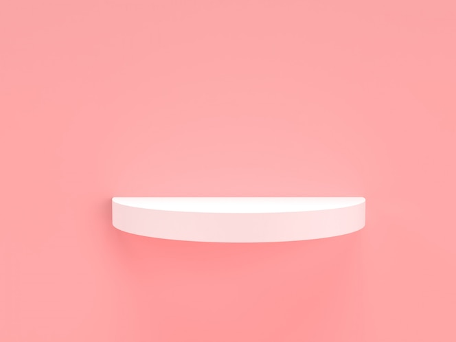 3d rendering pink pastel and white product stand on background.