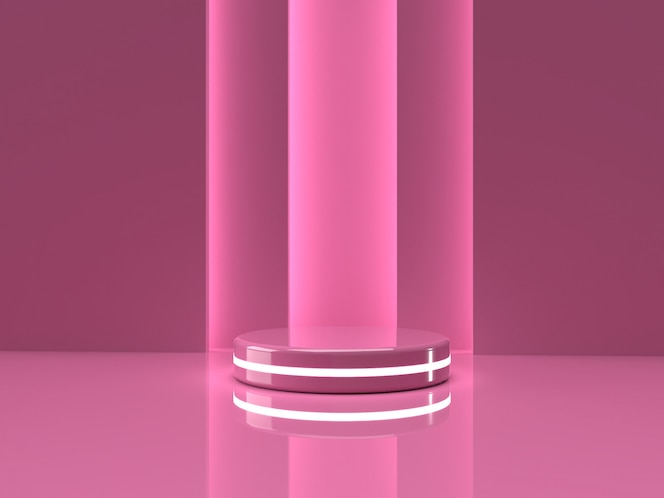 3d rendering pink product stand on background.
