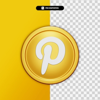 3d rendering pinterest icon on golden circle isolated