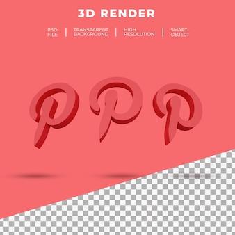 3d 렌더링 pinterest 로고 절연