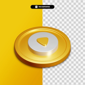 3d rendering play icon on golden circle isolated