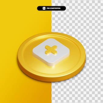 3d rendering plus icon on golden circle isolated