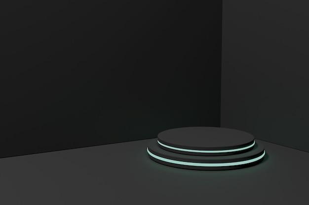 3d-рендеринг подиум-минималист с неоновым светом для презентации продукта-2