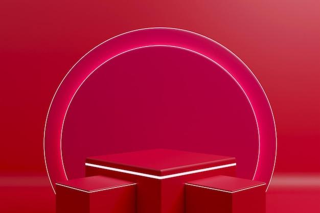 3d-рендеринг минималистский подиум с неоновым светом для презентации продукта-4