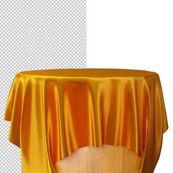 3d rendering podium with golden silk fabric isolated illustration