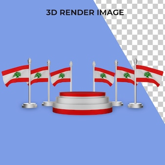 3d rendering of podium with lebanon national day concept
