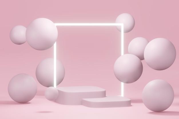3d rendering of podium with light minimal design podium stage showcase