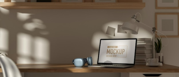 3d rendering portable workspace with laptop