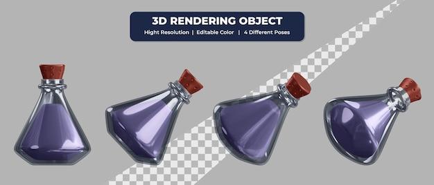 4つの異なるポーズと編集可能な色のガラスアイコン内の3dレンダリングポーションと液体