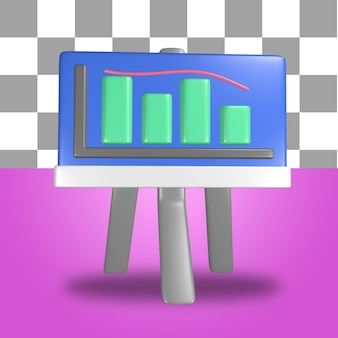 3d rendering of presentation board icon objects with statistics visualization inside infographics