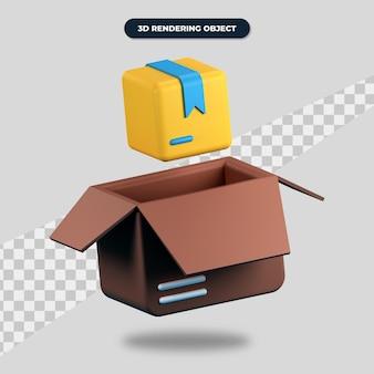 3d-рендеринг продукта со значком картона и коробки