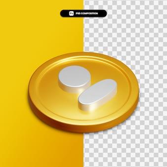 고립 된 황금 동그라미에 3d 렌더링 프로필 아이콘